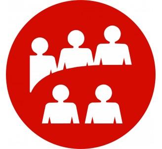 Plaque porte alu picto rond Logo salle de réunion