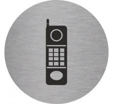 Plaque porte alu ou pvc picto rond téléphone
