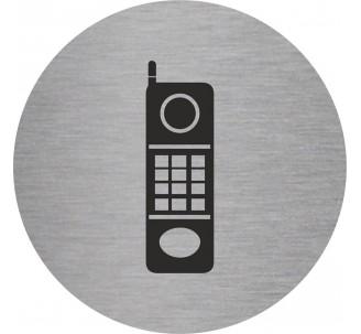 Plaque porte alu picto rond téléphone