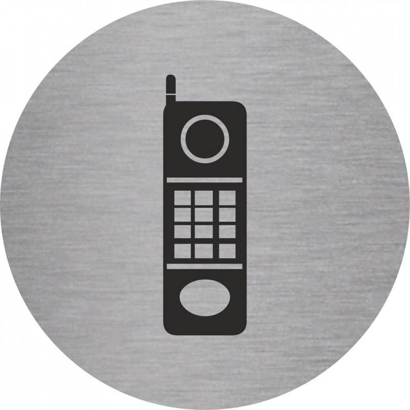 plaque porte alu ou pvc picto rond t l phone. Black Bedroom Furniture Sets. Home Design Ideas