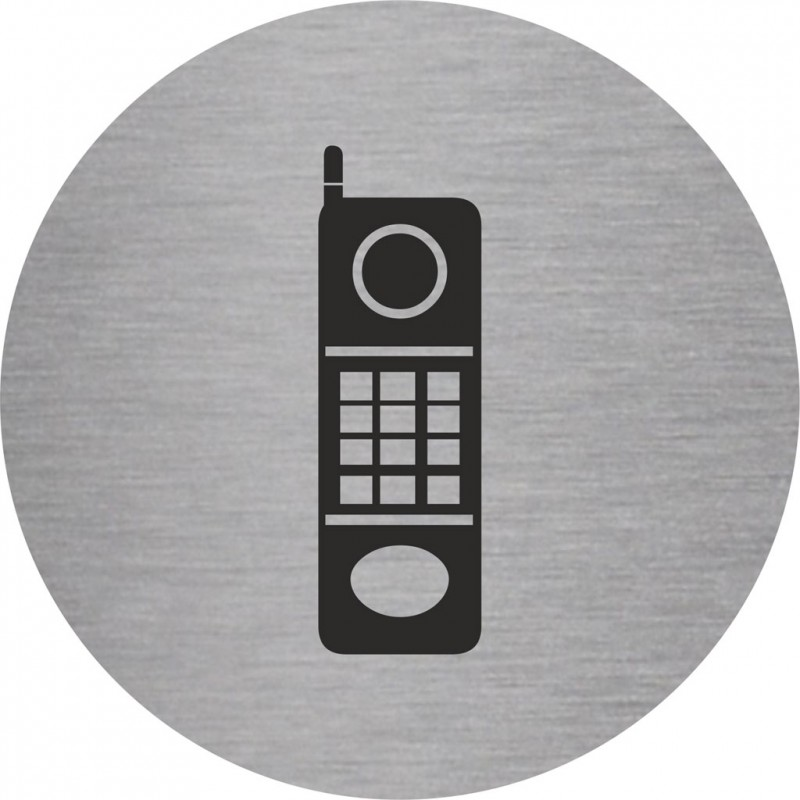plaque porte alu bross picto rond t l phone. Black Bedroom Furniture Sets. Home Design Ideas