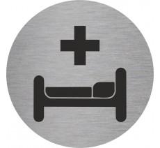 Plaque porte alu ou pvc picto rond soins, infirmerie