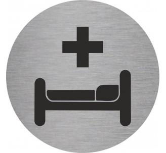 Plaque porte alu picto rond soins, infirmerie