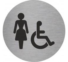 Plaque porte alu ou pvc picto rond toilettes femme, handicapé
