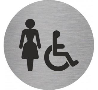 Plaque porte alu picto rond toilettes femme, handicapé