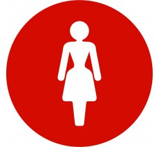Plaque porte alu ou pvc picto rond toilettes femme