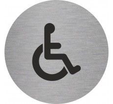 Plaque porte alu ou pvc picto rond toilettes handicapé