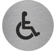 Plaque porte alu picto rond toilettes handicapé