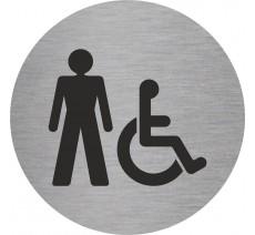 Plaque porte alu ou pvc picto rond toilettes homme , handicapé