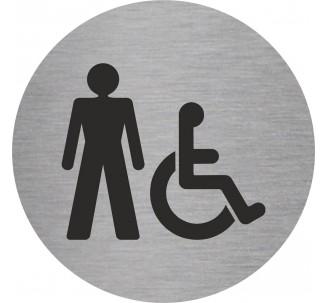 Plaque porte alu brossé picto rond toilettes homme , handicapé