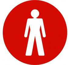 Plaque porte alu ou pvc picto rond toilettes homme