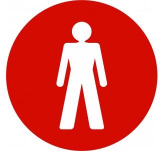 Plaque porte alu picto rond toilettes homme