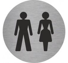 Plaque porte alu ou pvc picto rond toilettes mixtes
