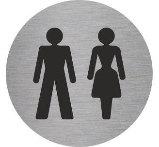 Plaque porte alu picto rond toilettes mixtes
