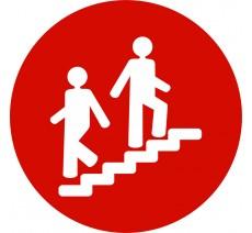 Plaque porte alu ou pvc picto rond escalier