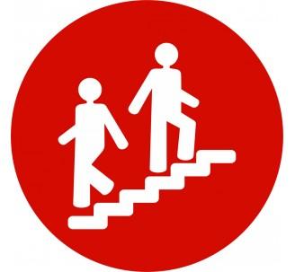 Plaque porte alu picto rond escalier