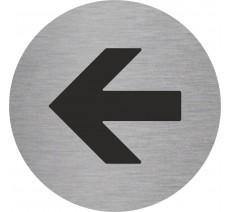 Plaque porte alu ou pvc picto rond flèche vers la gauche