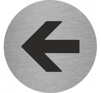Plaque porte alu picto rond flèche vers la gauche