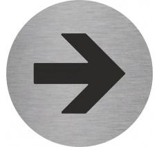 Plaque porte alu ou pvc picto rond flèche vers la droite