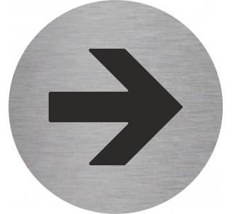 Plaque porte alu picto rond flèche vers la droite