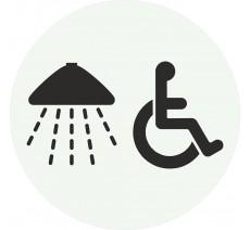 Plaque porte alu ou pvc picto rond douche - handicapé