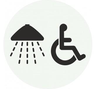 Plaque porte alu picto rond douche - handicapé