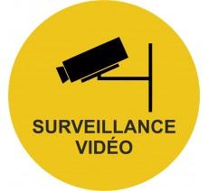 Plaque porte alu brossé picto rond  surveillance vidéo