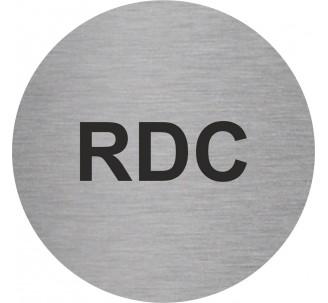 Plaque porte alu brossé picto rond RDC