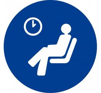 Plaque porte alu brossé picto rond salle d'attente