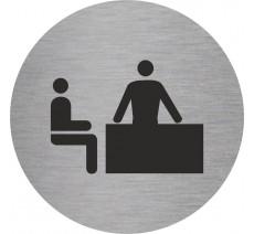 Plaque porte alu ou pvc picto rond bureau
