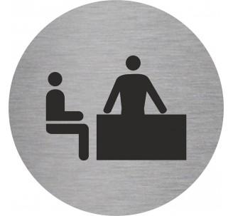 Plaque porte alu brossé picto rond bureau