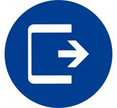 Plaque porte  alu ou pvc picto rond Logo sortie