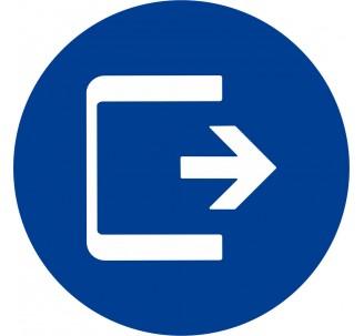 Plaque porte alu  picto rond Logo sortie