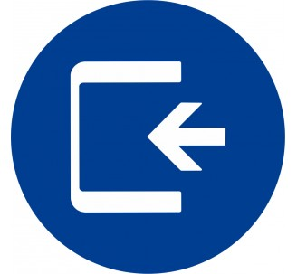 Plaque porte alu brossé picto rond Logo entrée