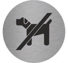 Plaque porte alu ou pvc picto rond chiens interdits