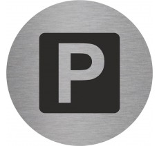 Plaque porte alu ou pvc picto rond parking