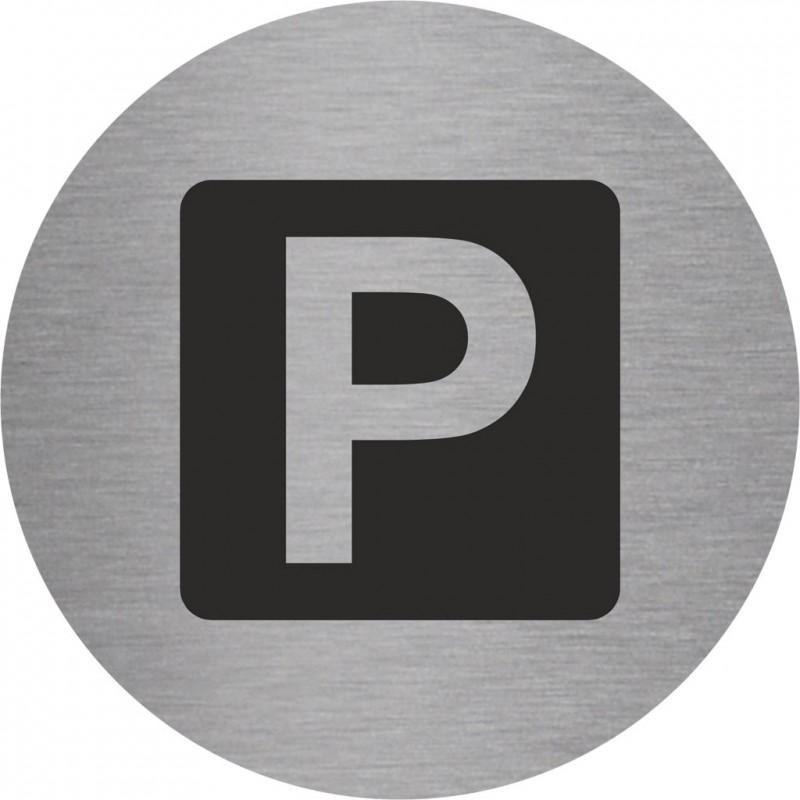 plaque porte alu bross picto rond parking. Black Bedroom Furniture Sets. Home Design Ideas