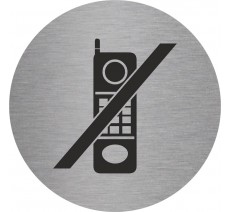 Plaque porte alu picto rond téléphones interdits