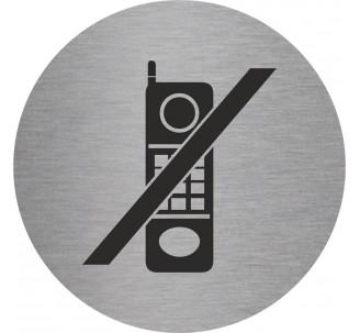 Plaque porte alu brossé picto rond téléphones interdits