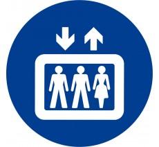 Plaque porte alu ou pvc picto rond ascenseur