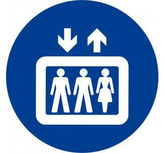 Plaque porte alu brossé picto rond ascenseur