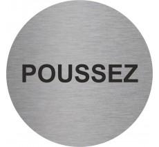 Plaque porte alu ou pvc picto rond Poussez