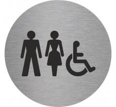 Plaque porte alu ou pvc picto rond Toilettes mixtes, handicapés