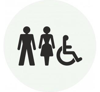 Plaque porte alu picto rond Toilettes mixtes, handicapés