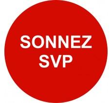 Plaque porte alu ou pvc picto rond Sonnez SVP