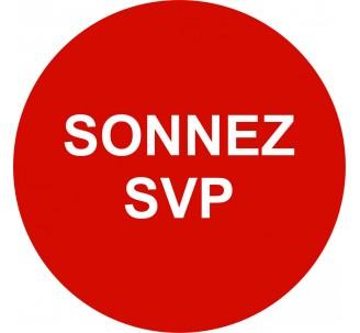 Plaque porte alu picto rond Sonnez SVP