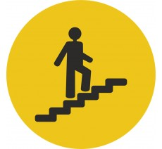 Plaque porte alu picto rond Escalier montant