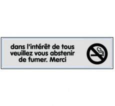 Plaque de porte plexi argent s'abstenir de fumer