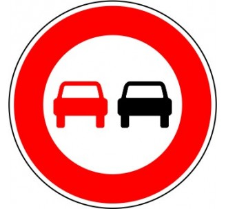 """Kit ou panneau seul type routier """"Interdiction de dépasser tous véhicules"""" ref: B3"""