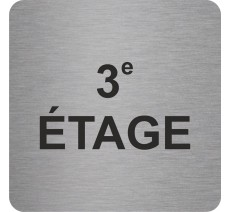Plaque porte alu ou pvc picto carré 3e étage